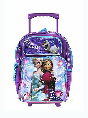 """Frozen Ice Princess Anna Elsa Large 16"""" Cloth Backpack with Wheels - Purple"""