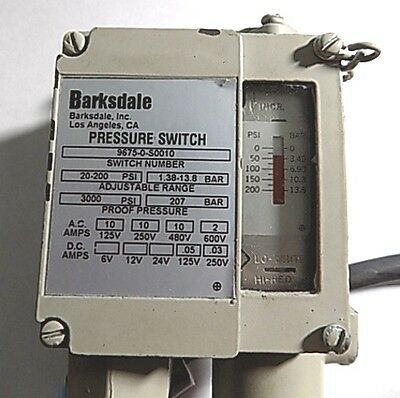 Barksdale Pressure Switch - 9675-0-S0010