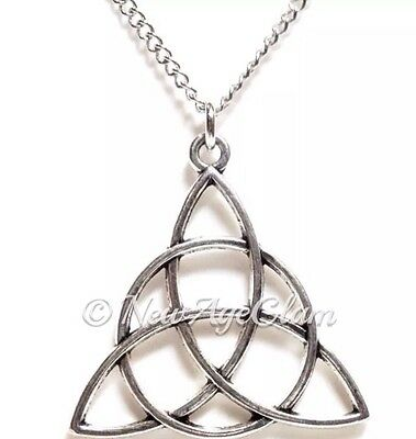 CELTIC KNOT_Pendant + Chain Necklace_Triquetra Irish Trinity Pagan Wiccan_N34