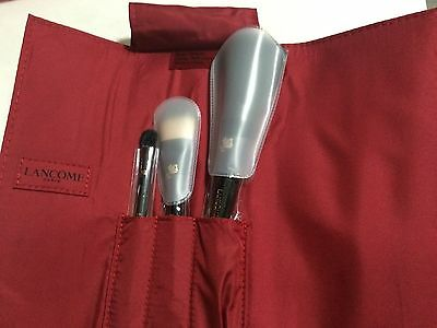 LANCOME 3pc brush set in RED pouch new limited edition