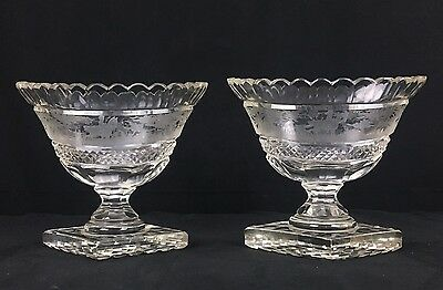 Wonderful Pair of Antique 19th Century Bohemian Glass Compotes Acid Cut Fox Hunt