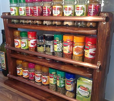 Copper Bar hand made wooden Spice Rack shelves kitchen, condiments ,