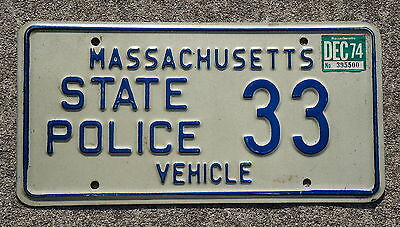 Massachusetts State Police Patrol License Plate 2 Digit Low # 33