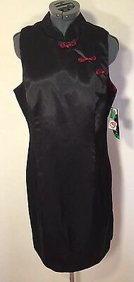NWT Women's Dress Size 10 Petite Asian Cheongsam Black Red $129.00 Lined