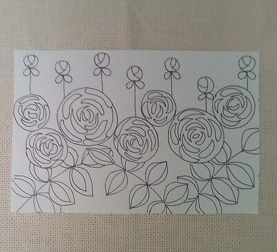 Rug Hooking Pattern on Monks Cloth ~ Roses