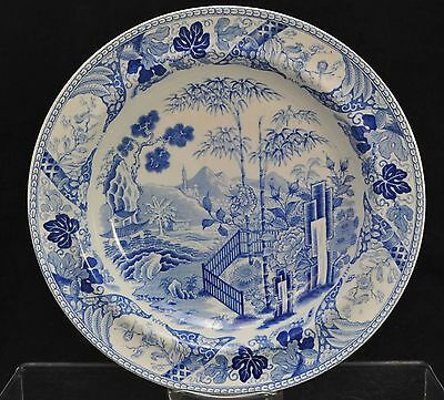 Antique Wedgwood Blue Transfer Palisade Pearlware Soup Plate Bowl 1806