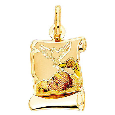 14k Real Solid Yellow Gold Baptism Bautismo Enamel Charm Pendant Oro Solido Dije