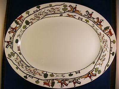 "Crown Staffordshire Hunting Scene 15 1/2"" Oval Platter"
