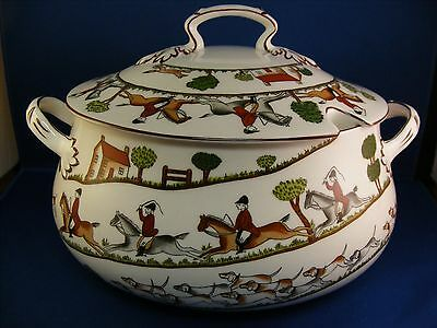Crown Staffordshire Hunting Scene Covered Tureen