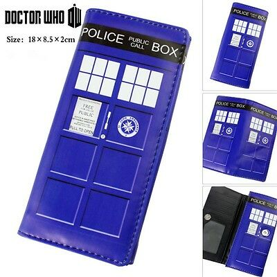 Doctor Who Police Box Color Painting Bifold Long Purse Holder Clutch Wallet