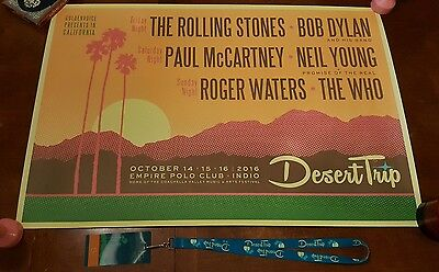 Official DESERT TRIP Poster 24X36 Extra Large Rolling Stones McCartney Waters