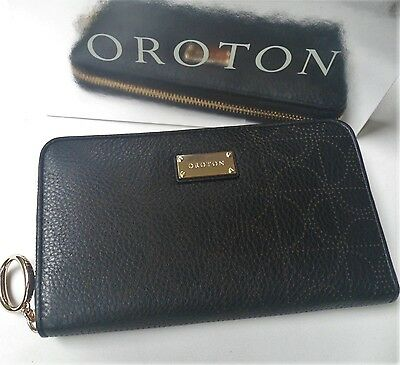RRP$295 New OROTON Wallet Venice MultiPocket Zip Around Large Black Leather