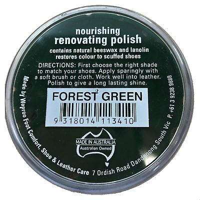 Waproo Renovating Polish Forest Green 45g Wax Polish Scuff Buff Shoes Leather