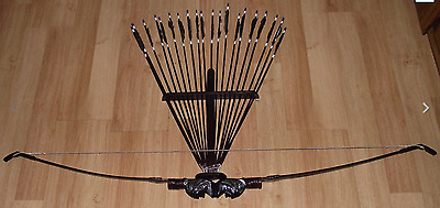 BALI Native American Indian recurve BOW AND ARROW SET hand made wth 20 arrows