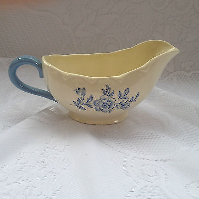 "Grindley England ""Eileen"" Gravy/Sauce dish/boat - blue flowers (380)"