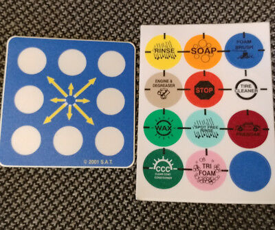 """Car Wash Decal Kit Rotary Switch 8 Position 12 Option Set Hd Lexan 3"""" New!"""