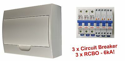 Complete 12 Pole Distribution Switchboard Safety Switches - 3 x RCBO / 3 x MCB