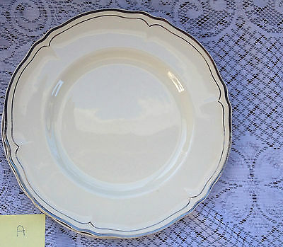 "4 Creampetal Grindley ""Silverdale"" Silver trim Dinner Plates  two sets avail 378"