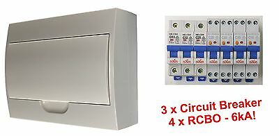 Complete 12 Pole Distribution Switchboard Safety Switches - 4 x RCBO / 3 x MCB