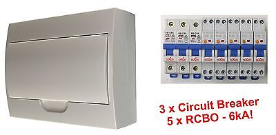 Complete 12 Pole Distribution Switchboard Safety Switches - 5 x RCBO / 3 x MCB