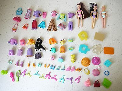 Polly Pocket Doll 3 Girl Dolls + Clothing + Accesories Bulk Lot