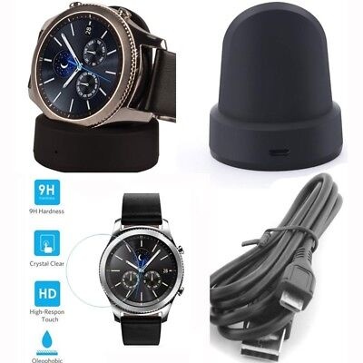 Wireless Charging Dock + Screen Skin for Samsung Galaxy Gear S3 Classic Frontier