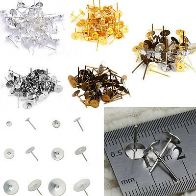 100X 6mm Stainless Steel Flat Pad Post Stud Earring for Craft jewelry making