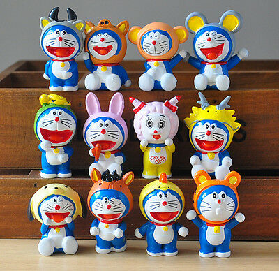 12pcs Doraemon Chinese zodiac PVC Action Figure Set Kids Toy Gifts Cake Toppers