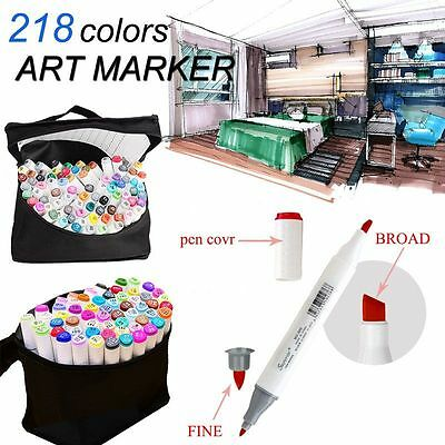 218 Color Set Twin Tips  Marker Pen Graphic Sketch Art Drawing Artist Glove AU