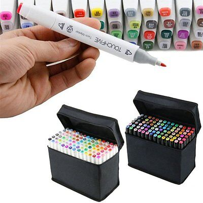 80 Colors Touch Marker Pen Graphic Art Sketch Paint Twin Tip Animation AU Stock