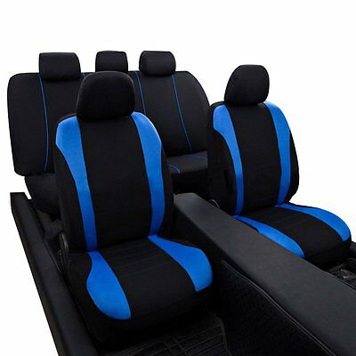 Universal Car Carnaby Black & Blue Seat Covers Washable Safe 9 Piece Set