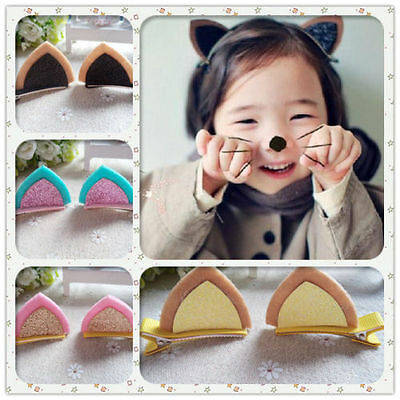 8pcs/lot Cute Cat Ear Hair Accessories Kids Girls baby Hair Clips hairpins