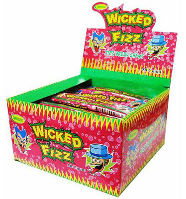 BOX OF 60 x 12g CANDY BARS OF WICKED FIZZ BERRY SHERBET CHEWS, NET WEIGHT: 720g