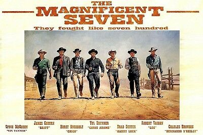 MOVIE POSTER FRIDGE MAGNET - THE MAGNIFICENT SEVEN (1960) - all 7 named!