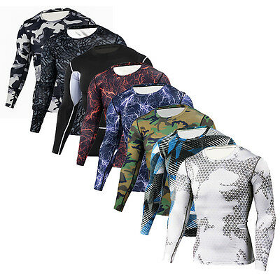 Men's Compression Athletic Sports Long Sleeve T-shirts Slim Fit Base Layer Tees