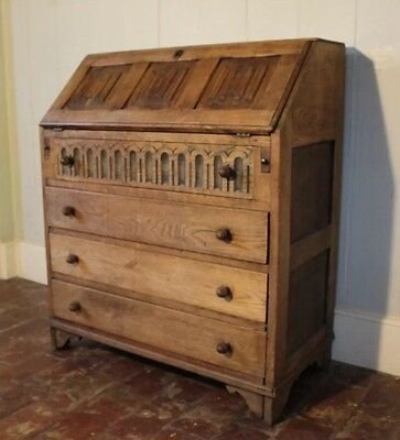 Beautiful Carved Light Oak Bureau Writing Desk Chest Of Drawers **DELIVERY**
