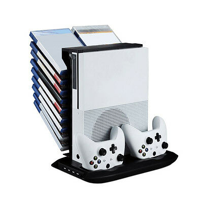 Vertical Holder Cooling Fan Stand Disk Storage USB Charging Dock For XBOX ONE S