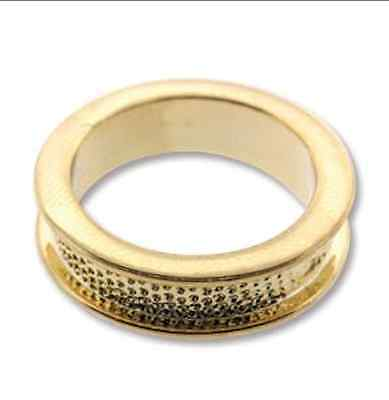Beadmisth gold plated channel Ring setting for crystal clay, polymer, size 6.5
