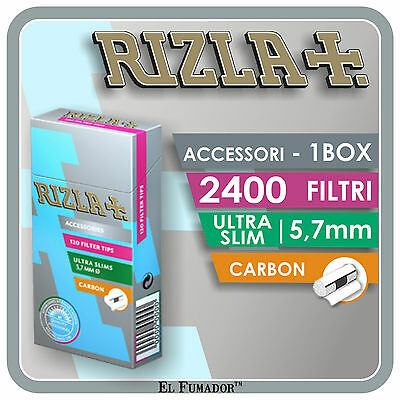 2400 FILTRI RIZLA ULTRA SLIM CARBON 5,7mm - 1 BOX 20 SCATOLE da 120 PEZZI