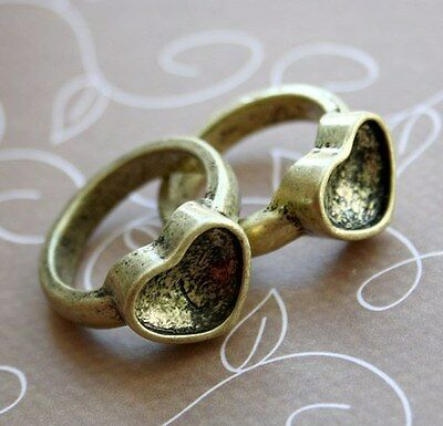 Antique gold ring setting, heart, ideal for crystal clay, resin, fimo - 4 pcs