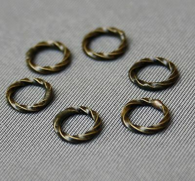 Antique Bronze Brass Linking Ring,Twisted -  pack of 14