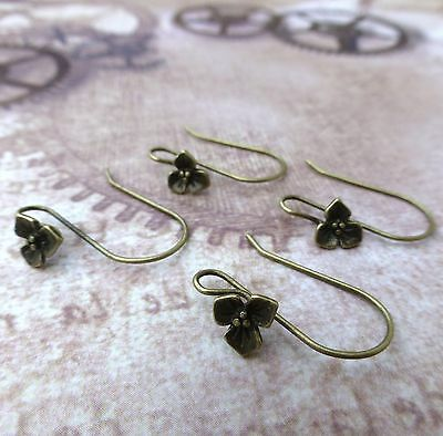 Brass Earwires With Flower Bronze Colour Earrings Components Earhooks Pack of 10