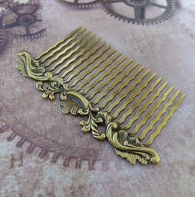 2 pcs  Antique Bronze Hair Comb with decorative Filigree