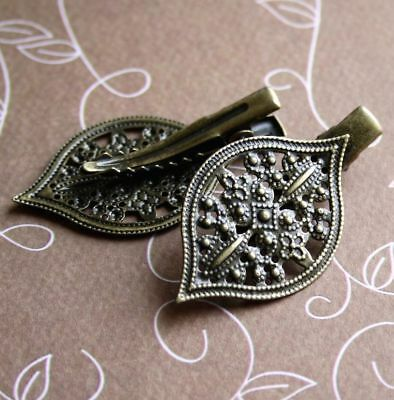 Vintage Antique Bronze Hair Clip with Filigree Pad- 4 pcs hair findings
