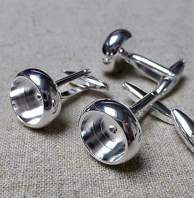 Quality rondelle cufflinks, silver plated brass, resin base, setting – 2 pcs
