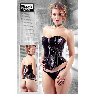 Corsetto In Vinile Nero Con Zip Taglia M Sexy Shop Toy ( Perizoma Non Incluso )