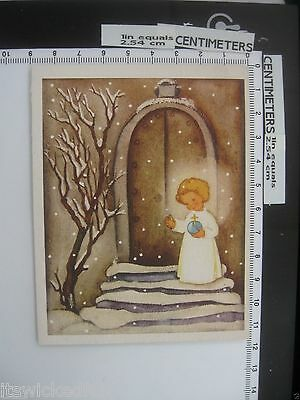 Angelic Child at Church Doors - Vintage 1940s Christmas Card