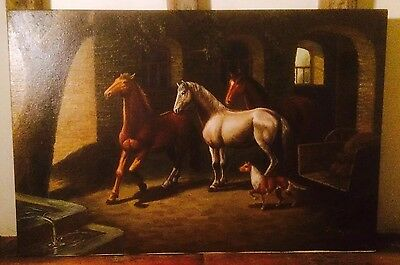 J Knight Original Oil Painting Equine Study On Canvas Of Horses / Dog 91.5x61cm