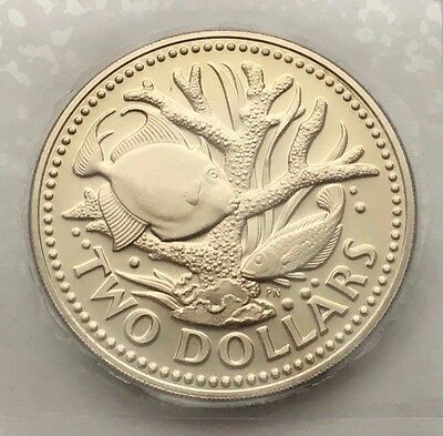 1974 Barbados 2 Dollars Proof Coin Free Shipping