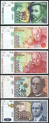 Spain  SET  5 BANKNOTES  P#164/165 /166 /167/168  SAME SERIAL  NUMBER  VERY RARE